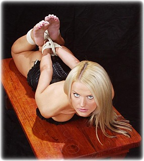 Bondage photo pic picture Jasmine Sinclair rope bondage, barefoot, handcuffs, hogtie, shoes, spreader bar, medieval, nude