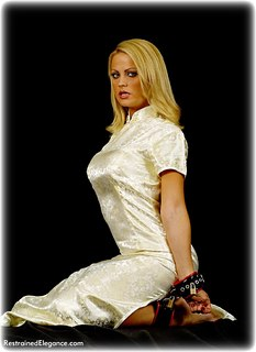 Bondage photo pic picture Jasmine Sinclair barefoot, satin, leather bondage, silk, chinese dress, spreader bar