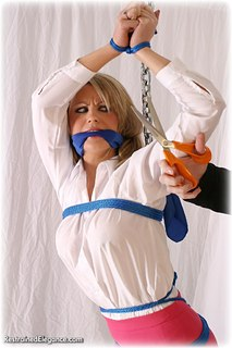 Bondage photo pic picture Jasmine Sinclair rope bondage, barefoot, blouse, humiliation, cloth gag, clothes cut off, nude, topless