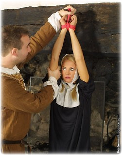 Bondage photo pic picture Jasmine Sinclair and Temptress Kate rope bondage, barefoot, humiliation, medieval, corporal punishment, uniform, whipping