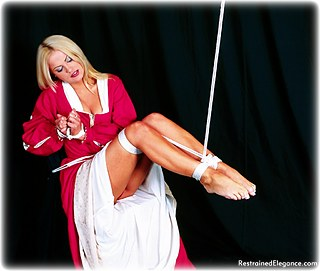 Bondage photo pic picture Jasmine Sinclair rope bondage, barefoot, hogtie, silk, cloth gag, medieval