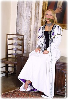 Bondage photo pic picture Jasmine Sinclair ballgown, barefoot, shackles, chains, cloth gag, medieval, metal bondage, collar