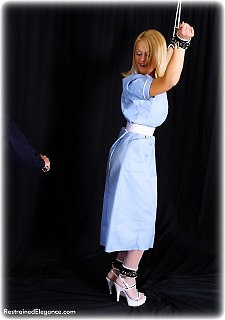 Bondage photo pic picture Jasmine Sinclair rope bondage, humiliation, shoes, spreader bar, stockings, corporal punishment, uniform, riding crop