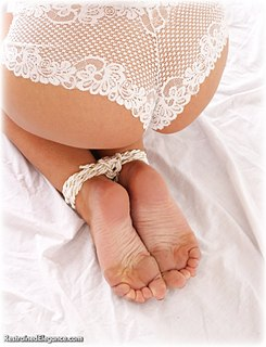 Bondage photo pic picture Jasmine Sinclair rope bondage, barefoot, lingerie, topless