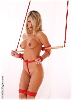 Bondage photo pic picture Jasmine Sinclair barefoot, nude, rope bondage, topless, crotch rope