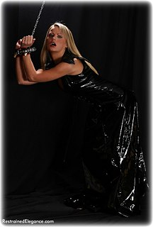Bondage photo pic picture Jasmine Sinclair barefoot, leather bondage, collar, dress, pvc