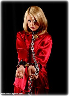 Bondage photo pic picture Jasmine Sinclair barefoot, satin, leather bondage, silk, slave training, chains, stockings, collar, nude, topless