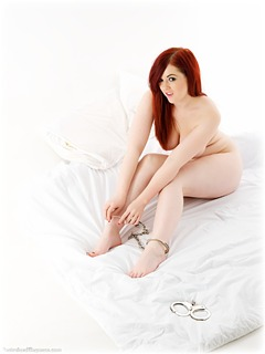 Bondage photo pic picture Jaye Rose barefoot, handcuffs, self bondage, leg irons, metal bondage, nude, ungagged