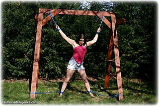 Bondage photo pic picture Jasmine de Launay ballgag, rope bondage, barefoot, outdoor
