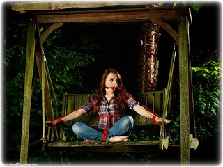 Bondage photo pic picture Jenny Smith ballgag, barefoot, blouse, jeans, outdoor, denim, redhead, rope bondage