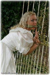 Bondage photo pic picture Jessie ballgown, cloth gag, handcuffs, outdoor, satin, silk
