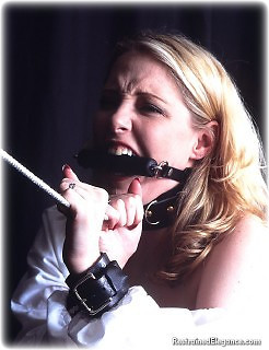 Bondage photo pic picture Jewel Evans rope bondage, barefoot, bit gag, hot wax, humiliation, leather bondage, medieval, collar