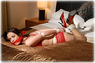 Bondage photo pic picture Jinx hogtie, shoes, silk, lingerie, stockings, cloth gag, rope bondage