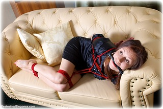 Bondage photo pic picture Juliana satin, barefoot, bit gag, blouse, silk, skirt, business wear, pencil skirt, rope bondage