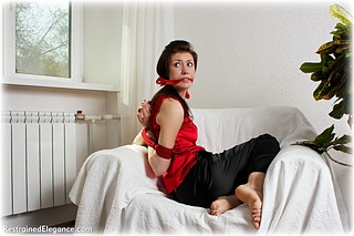 Bondage photo pic picture Juliana rope bondage, barefoot, satin, business wear, cloth gag, reverse prayer