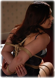 Bondage photo pic picture Kacie James rope bondage, barefoot, satin, bedroom, silk, brunette, lingerie, ungagged