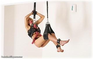 Bondage photo pic picture Katarina Nikita ballgag, barefoot, leather bondage, lingerie, suspension