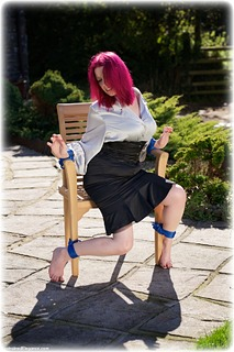 Bondage photo pic picture Temptress Kate rope bondage, barefoot, satin, blouse, silk, skirt, business wear, outdoor, ungagged