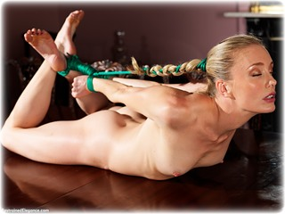 Bondage photo pic picture Katy Cee rope bondage, barefoot, blonde, hogtie, nude, ungagged