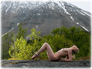 Bondage photo pic picture  barefoot, handcuffs, leg irons, metal bondage, nude, outdoor, ungagged