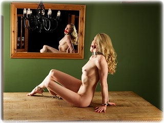 Bondage photo pic picture Katy Cee ballgag, barefoot, handcuffs, blonde, leg irons, metal bondage, nude