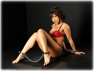 Bondage photo pic picture Kayla Louise barefoot, handcuffs, leg irons, lingerie, metal bondage, ungagged