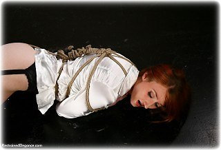 Bondage photo pic picture Kendra James rope bondage, blouse, silk, stockings