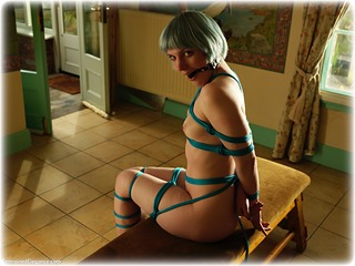 Bondage photo pic picture Kitty Quinzell ballgag, rope bondage, barefoot, nude, ungagged
