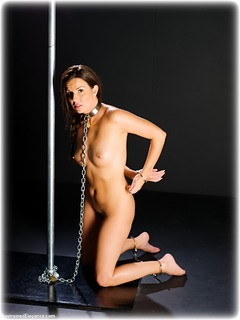 Bondage photo pic picture Kobe Lee barefoot, handcuffs, leg irons, chains, metal bondage, collar, nude, ungagged