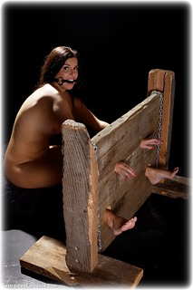 Bondage photo pic picture Kobe Lee barefoot, bit gag, historical, medieval, nude
