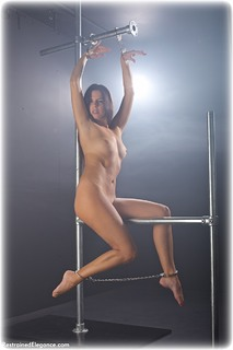 Bondage photo pic picture Kobe Lee barefoot, handcuffs, leg irons, metal bondage, nude, ungagged