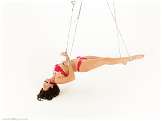 Bondage photo pic picture Kobe Lee rope bondage, barefoot, bit gag, lingerie, suspension