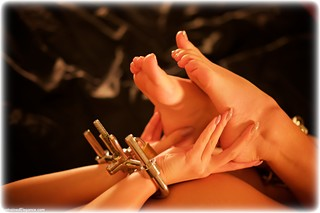 Bondage photo pic picture Lauren Louise ballgag, barefoot, bedroom, handcuffs, brunette, leg irons, metal bondage, collar, nude, ungagged