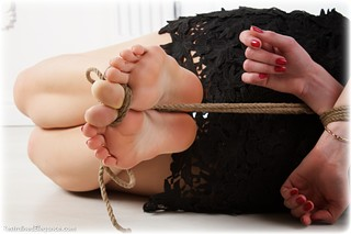 Bondage photo pic picture Lera rope bondage, barefoot, hogtie, brunette, cloth gag, dress, ungagged