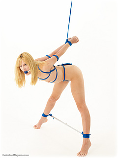 Bondage photo pic picture Ariel Anderssen ballgag, rope bondage, barefoot, bit gag, scolds bridle, self bondage, slave training, spreader bar, cloth gag, metal bondage, cock gag, tape gag, nude, crotch rope, ungagged, reverse prayer, frogtie, gag, ring gag, yoke