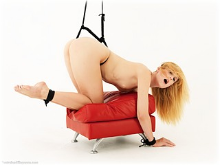 Bondage photo pic picture Ariel Anderssen ballgag, gag, rope bondage, barefoot, hogtie, shackles, leg irons, slave training, spreader bar, metal bondage, strappado, suspension, collar, nude, crotch rope, ungagged, reverse prayer