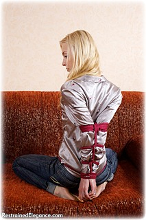 Bondage photo pic picture Lilith rope bondage, barefoot, satin, hogtie, blouse, jeans, silk, cloth gag, ungagged