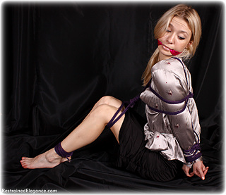 Bondage photo pic picture Lilith gag, rope bondage, barefoot, satin, blouse, shoes, skirt, cloth gag, foot torture