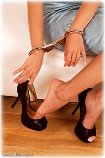 Bondage photo pic picture Lily S barefoot, handcuffs, shoes, silk, nude, topless