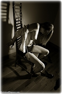 Bondage photo pic picture Louise Skye rope bondage, shoes, lingerie, stockings, topless