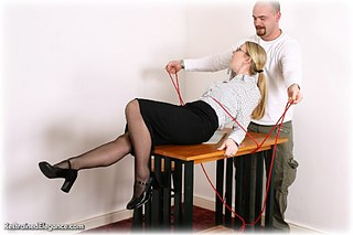 Bondage photo pic picture Missey rope bondage, blouse, humiliation, shoes, stockings, topless