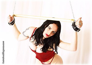 Bondage photo pic picture Morrigan Hel satin, leather bondage, chains, lingerie, spreader bar, stockings