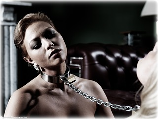 Bondage photo pic picture Natalia Forrest and Katy Cee girlgirl, barefoot, blonde, shackles, humiliation, brunette, sm factory, leg irons, lesbian, chains, collar, nude, ungagged