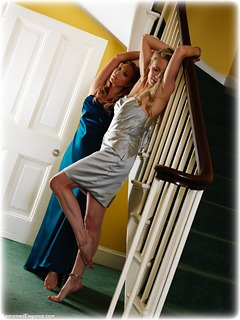 Bondage photo pic picture Natalia Forrest and Katy Cee ballgown, girlgirl, barefoot, satin, gown, handcuffs, blonde, silk, humiliation, brunette, leg irons, lesbian, metal bondage, nude, dress, ungagged