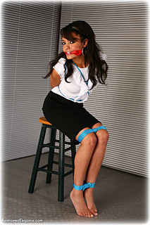 Bondage photo pic picture Natasha rope bondage, barefoot, blouse, shoes, cloth gag