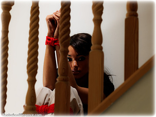 Bondage photo pic picture Natasha satin, blouse, silk, cloth gag, rope bondage