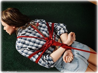 Bondage photo pic picture Nicky Phillips rope bondage, barefoot, blouse, hogtie, shorts, brunette, denim, ungagged