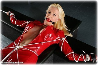 Bondage photo pic picture Nikki ballgag, leather bondage, pvc, rope bondage