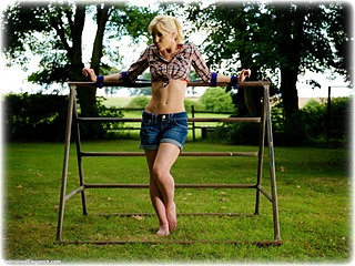 Bondage photo pic picture Paige Robbins rope bondage, barefoot, humiliation, outdoor