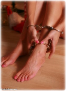 Bondage photo pic picture Paige Robbins barefoot, handcuffs, self bondage, leg irons, metal bondage, topless